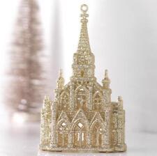 "NEW Raz 6"" Gold Glittered Church Christmas Tree Ornament 3614107"