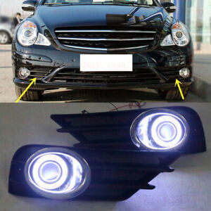 Direct Fit Benz W251 R350 2007-10 LED DRL Daytime Fog Lamps Projector+angel eyes