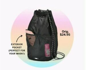 Victorias Secret DRAWSTRING Bag Backpack SEXY Mesh Nylon RECYCLED Tote NWT PINK