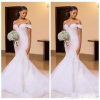 White/Ivory Wedding Dresses Lace Beading Mermaid Bridal Gowns Train Custom made