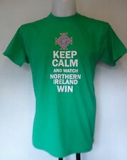 """""""KEEP CALM AND WATCH NORTHERN IRELAND WIN"""" GREEN T- SHIRT ADULTS SIZE LARGE"""