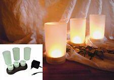 LED Luces de té con batería Estación carga CENTELLEANTE recargable Velas té