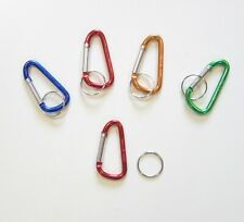 4 Pack Carabiner Clips W/ Key Ring Spring Belt Snap Red Blue Green Gold