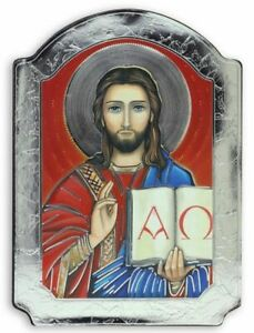 """Christ Pantocrator Ruler Of All Icon Picture on Wood w Silver Foil 5 1/2"""" Italy"""