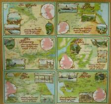 Set of 6 British Rivers Map Reward PCs Cadbury's Chocolates Bournville Cocoa