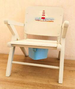 Ancienne Chaise Bois Pot Enfant Blanche Motif Phare Mer Pot Plastique Bleu