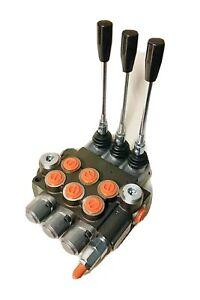 Hydraulic Monoblock 3 Bank 40 L/Min Lever Control Spool Valve Double Acting