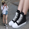 Womens High Top Black Lace Up Sneakers Canvas Wedge Hidden Heels Boots Fashion L