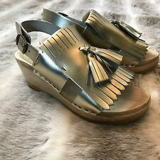 No. 6 Kiltie Tassel Gold Open Toe Wedge Sandals Clogs Black Size 37 US 7 Wooden