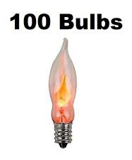 "(100) Flicker Flame Mini Light Bulbs Candelabra Base C7 3"" Long"