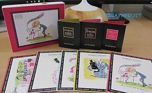 NIB Robert Piguet Gardenia Fracas Mademoiselle Eau Perfume Vial Postcard Sampler