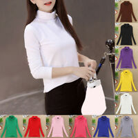 Spring Women Long Sleeve Bottoming Shirt Turtleneck Stretch Tops Casual T-shirt