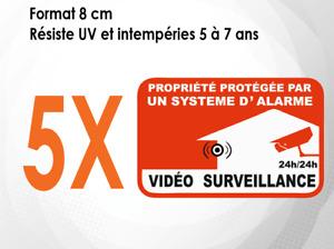 5 autocollants (8 CM) panneau Propriété Alarme sous vidéo surveillance (M059)