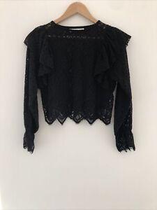 ZARA Black Lace Mesh Floral Ruffle Long Sleeve Top Shirt Blouse Size S