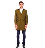 De La Creme Mens Wool Blend Herringbone Design Retro Crombie Coat Olive - 3XL