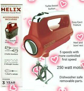 Black+Decker Helix Performance Premium Hand 5-Speed Mixer RED Turbo Boost ~NEW