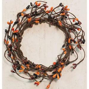 "Pip Berry Candle Ring / Wreath 3.5"" Inner Dia - Primitive Mix - Orange, Black"