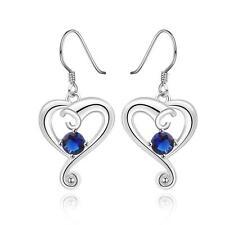 925 Silver Plated Sapphire Swirl Heart Drop Dangle Earrings, Lovely Ladies Gift