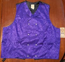 Wah Maker Men's Vest Old West NWT 100% Silk Floral Double Breasted 37594 Purple