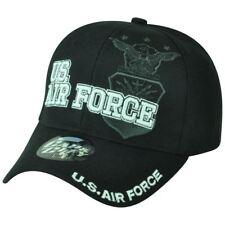 Stati Uniti Aeronautica Us Curvo Bill Militare Cappello War Scudo Nero 447b771e6d7d