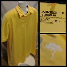 Mens Nike ⛳ Golf Dri-Fit Standard Fit Short Sleeve Embroidered Yellow Polo XL