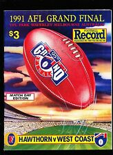 1991 Grand Final Match Day record Hawthorn vs West Coast  Premiers