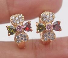 18K Gold Filled - Clover Floral Heart Peridot Ruby Topaz Pink Lady Hoop Earrings