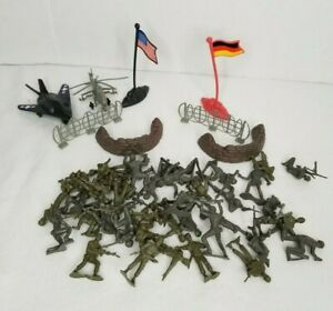Plastic Army Men Lot With USA Flag & Germany Flag Chopper Etc Unbranded