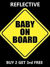 REFLECTIVE BABY ON BOARD SIGN Decal Nighttime Visible Sticker Car USA MADE