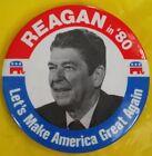 1980 Ronald Reagan Presidential Pinback Button -Let's Make America Great Again