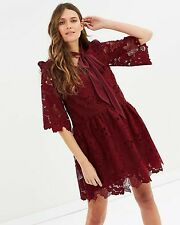 Perseverance Floral Cut Out Lace Tie Neck Mini Dress Burgundy UK Size 10 *REF27