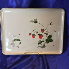 Vintage Otagiri Strawberry Pattern Lacquerware Large Tray Made in Japan