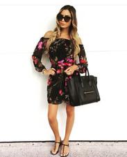 Lipsy Keegan Floral Skater Dress 12 Long Sleeve Belt Bardot Shoulder Multi Boho