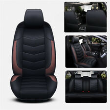 Black+Brown PU Leather Splicing Seat Cushion Cover Pad for 4-door Car No Trucks