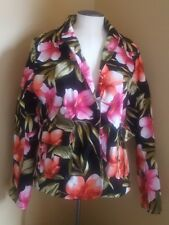 Carribean Joe LARGE blazer jacket  Floral Button Front Hawaiian style used