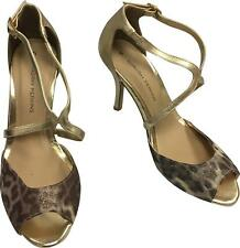 821fe8e2cbc Ladies Dorothy Perkins Gold   Brown Animal Open Toe 3in HEELS Size UK 5
