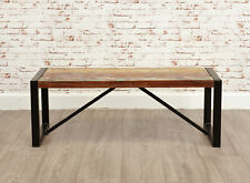 Urban Chic Reclaimed Wood Dining Bench Small 2 Seater Steel Frame