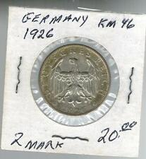 1926 Germany 2 Marks Silver Coin KM 46
