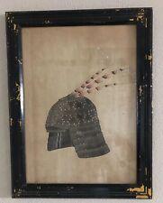 19th Century Meiji Period (?) Japanese Water Color Framed Samurai Helmet Wwii