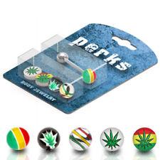 4 Colors Rasta Pot Leaf Hemp Logo Ball Surgical Steel Barbells Tongue Rings Pack
