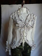 Lucy collection Solid white long sleeve ribben ties crunche Polyester sz S shirt