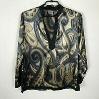 Chico's Blouse Tunic Womens Size 1 Brown Black Paisley Print Long Sleeve Top