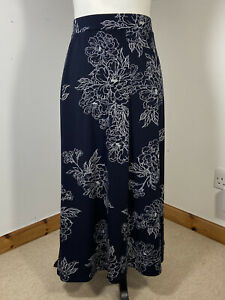 Laura Ashley Blue White Floral Textured Long MIDI Skirt Size 18 Stretchy
