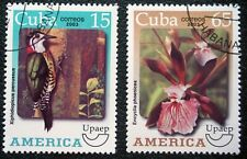 1CUBA  Sc# 4346-4347  UPAEP America BIRDS ORCHID flowers  CPL SET of 2 2003 used