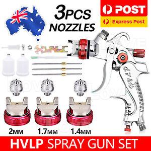 Spray Gun Paint Gun Kit HVLP Gravity Feed Air 3 Nozzles1.4mm 1.7mm 2mm Tips