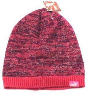 PUMA Shimmer Cat Dark Pink ( Reddish)  Warm Women Beanie Hat New with Tags