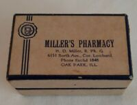 DRUGGIST PRESCRIPTION BOX Paper Medicine Apothecary Bottle Vintage Pharmacy 1956