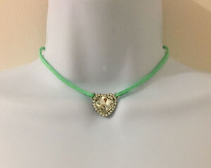 Mint Green Color Cord SilverTone Clear Crystal Stone Heart Charm Choker Necklace