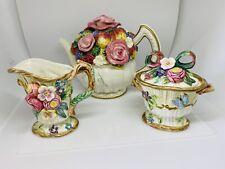 Fitz & Floyd China Pink Roses Fruits Tea Pot, Creamer Sugar Set, 3Pc.