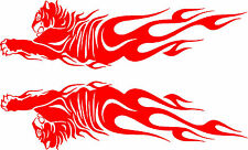 """Tiger Flames Tribal Vinyl Car Decals, Truck or Trailer Stickers (2 - 36"""" x 10"""")"""